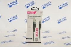 Кабель SOLID, USB - lightning, 1.2мб 2.1A, усиленный, цвет титановый, OLMIO